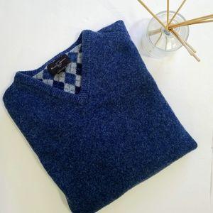 BLACK BROWN 1826 V-NECK MEN'S SWEATER 100% Wool